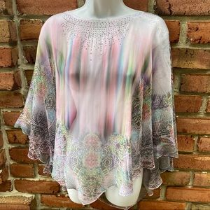 One World Sheer Shawl Top Blouse L
